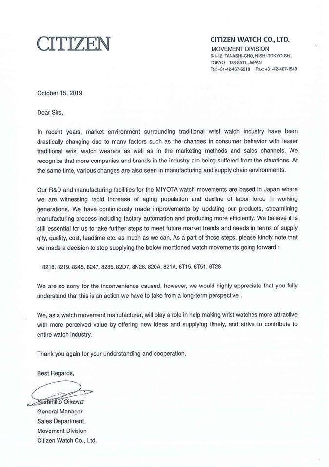 Carta de Citizen sobre la producción de máquinas Miyota
