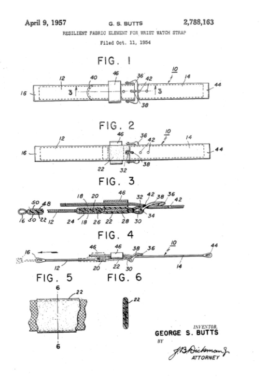 Patente correa de reloj vintage de 1957