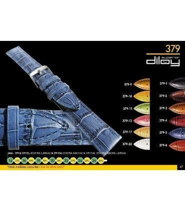 Correas de Reloj de Piel Grabado Cocodrilo Largo Especial. Ref 379EL