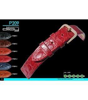 Correa de piel para reloj imitación cocodrilo Diloy P209