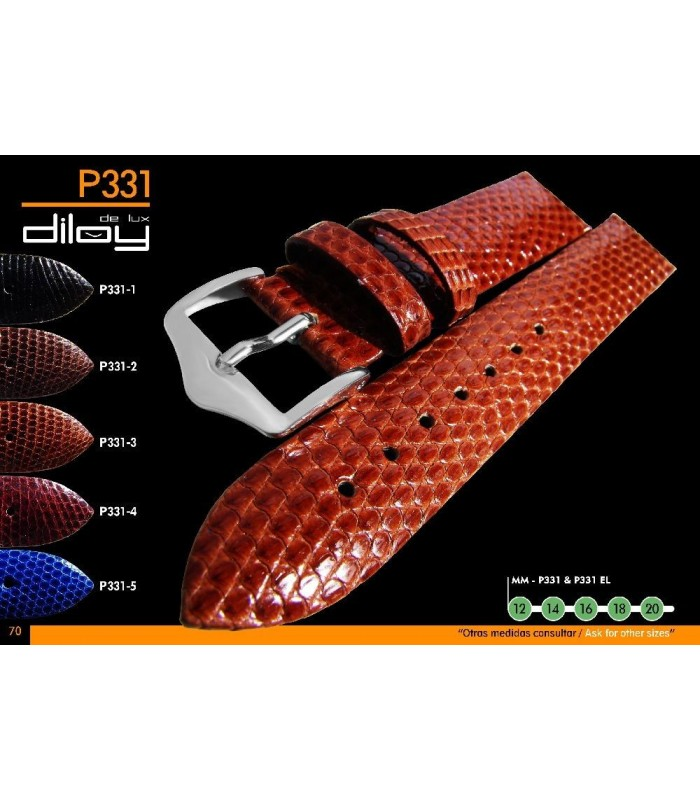 Correa de piel de lagarto genuina para reloj Diloy P331