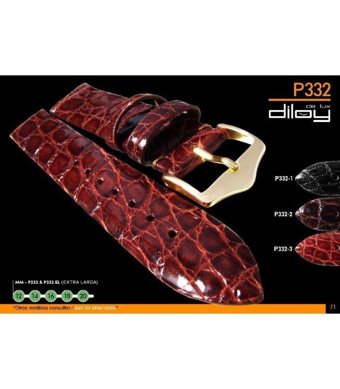 Correa de piel de cocodrilo genuino para reloj Diloy P332