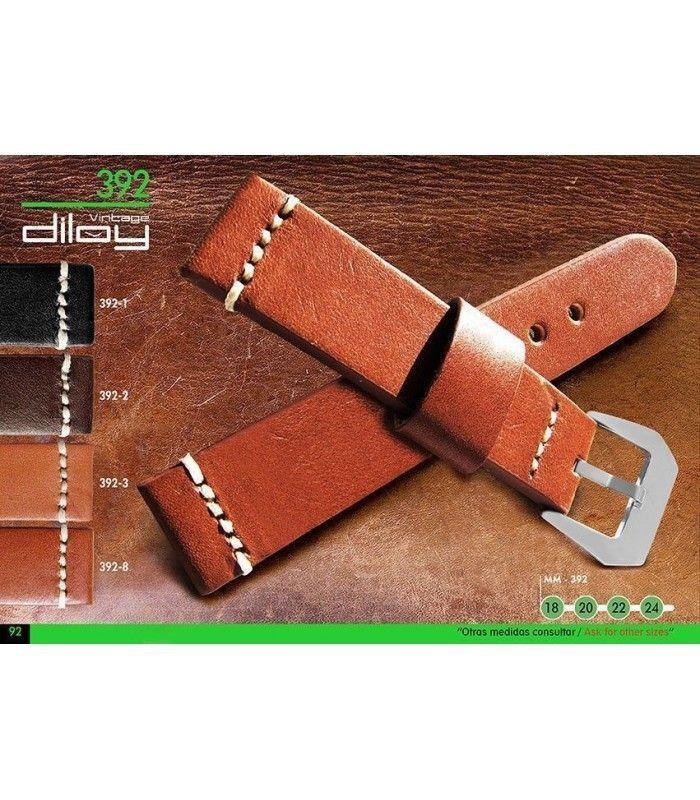 Correa de piel vintage para reloj, Diloy 392