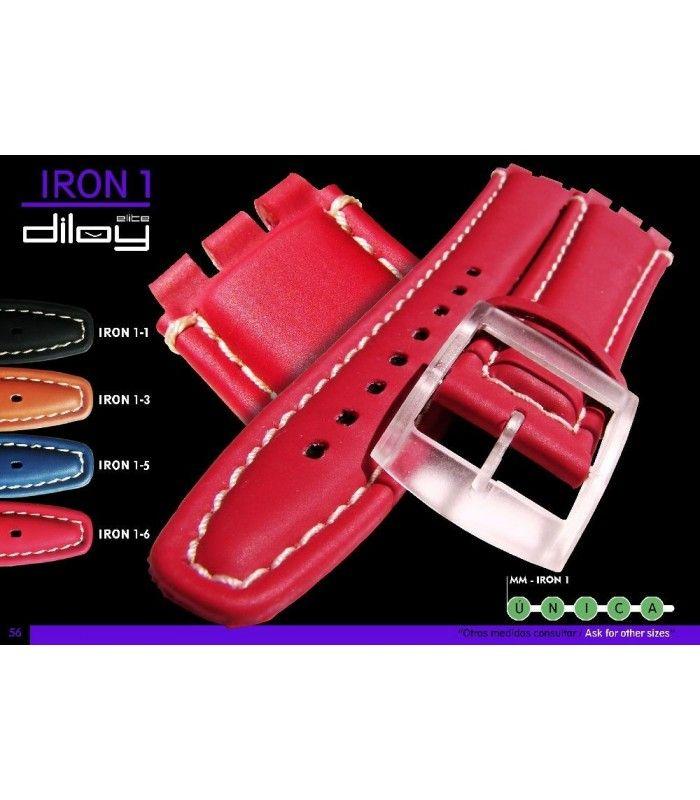 Correa de piel para repuesto reloj Swatch, Diloy Iron1