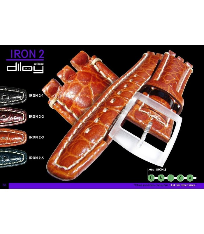 Correa de piel para repuesto reloj Swatch, Diloy Iron2