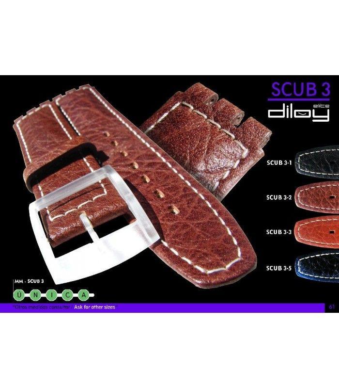 Correa de piel para repuesto reloj Swatch, Diloy Scub3