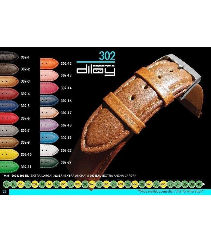 Correa extralarga de piel para reloj, Diloy 302EL