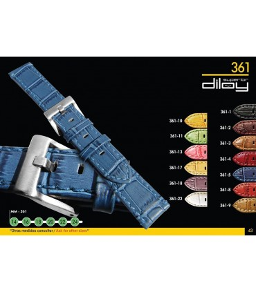 Correas de Reloj de Piel Grabado Cocodrilo Largo Especial. Ref 361