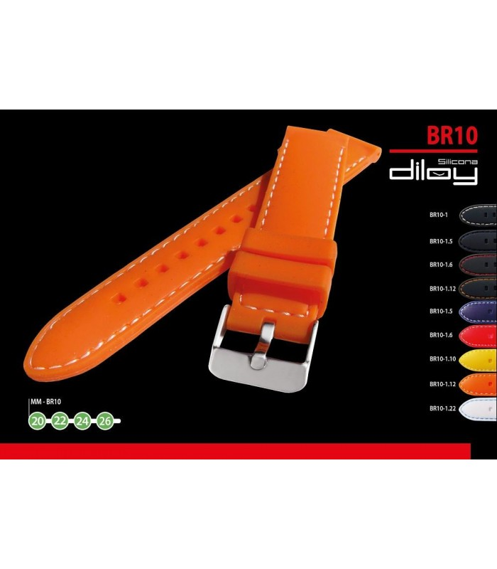 Silicone watch strap, Diloy BR10