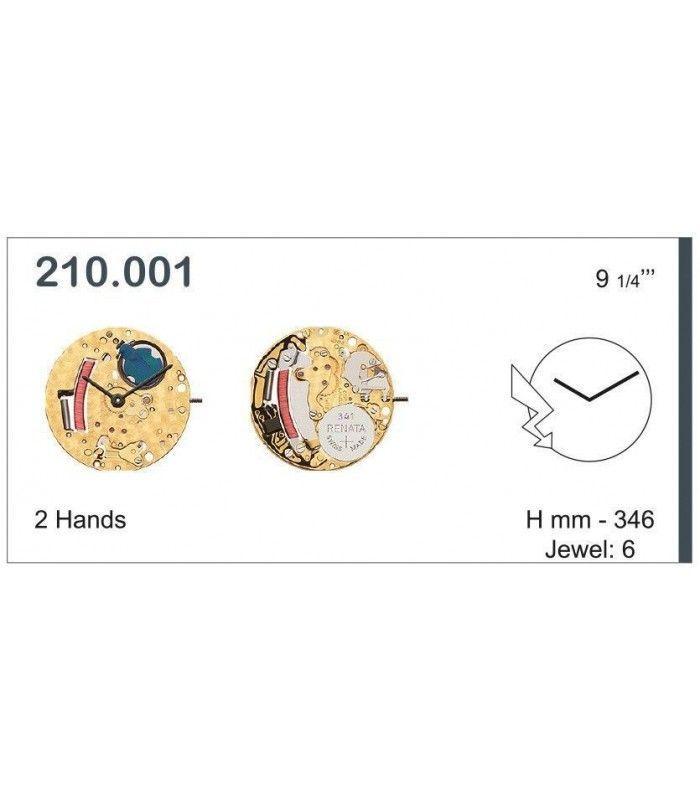 Máquinas ou movimentos para relógio, ETA 210.001