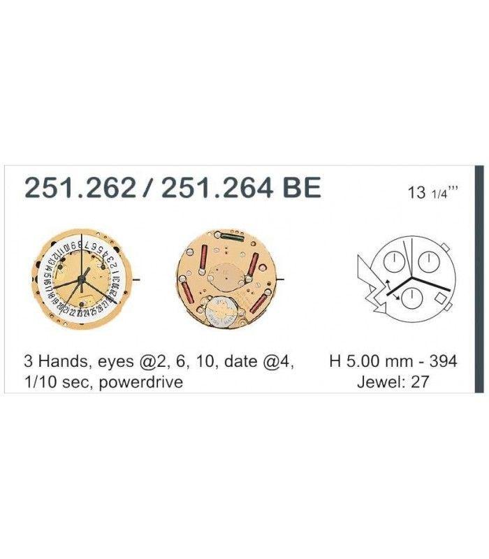 Máquinas ou movimentos para relógio, ETA 251.262