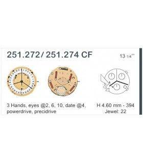 Máquina o movimiento para reloj ETA 251.272