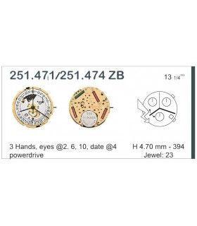 Máquinas ou movimentos para relógio, ETA 251.471