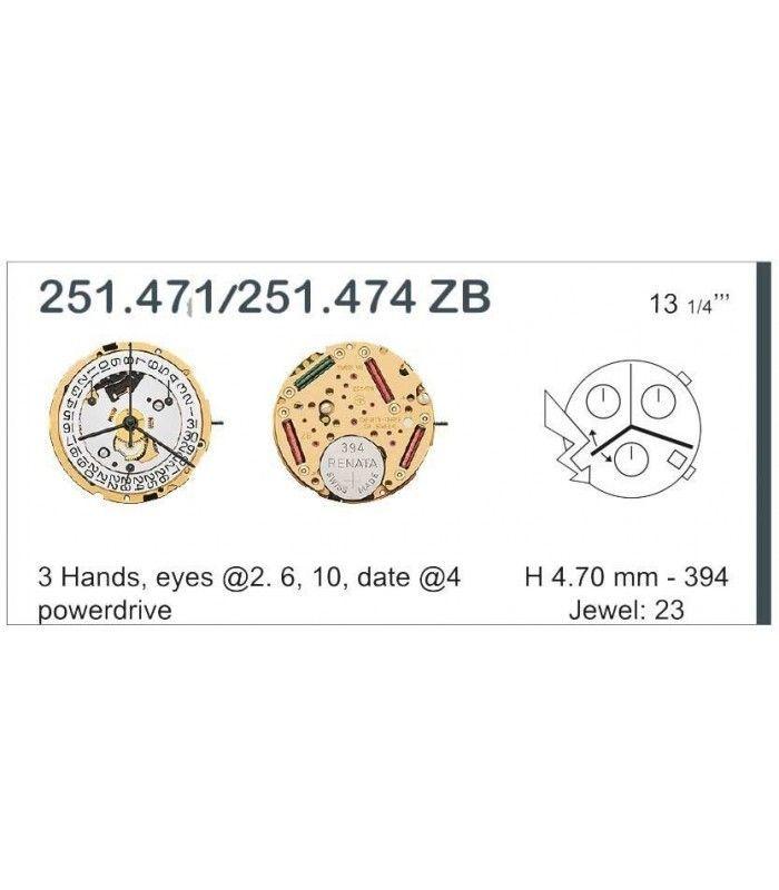 Movement for watches, ETA 251.471