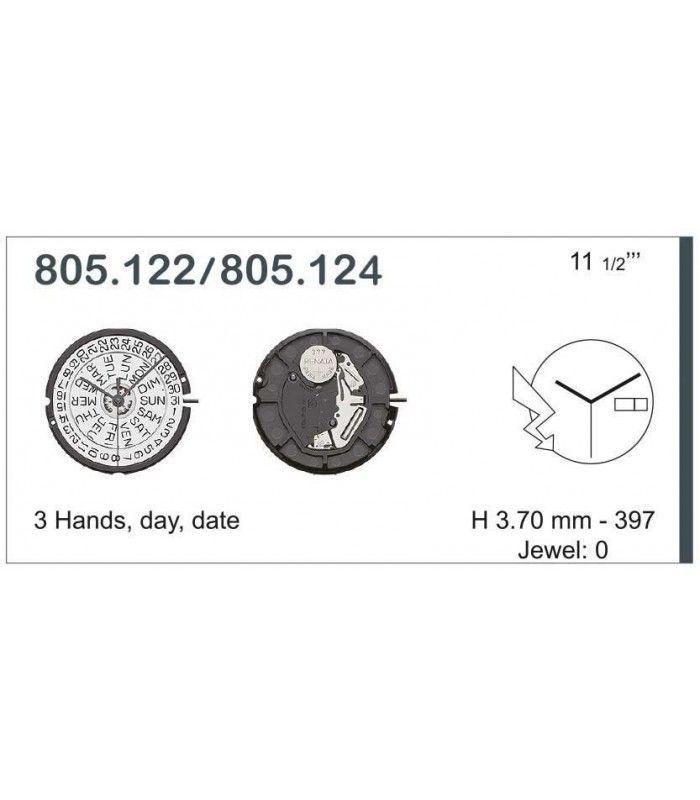 Máquinas ou movimentos para relógio, ETA 805.124