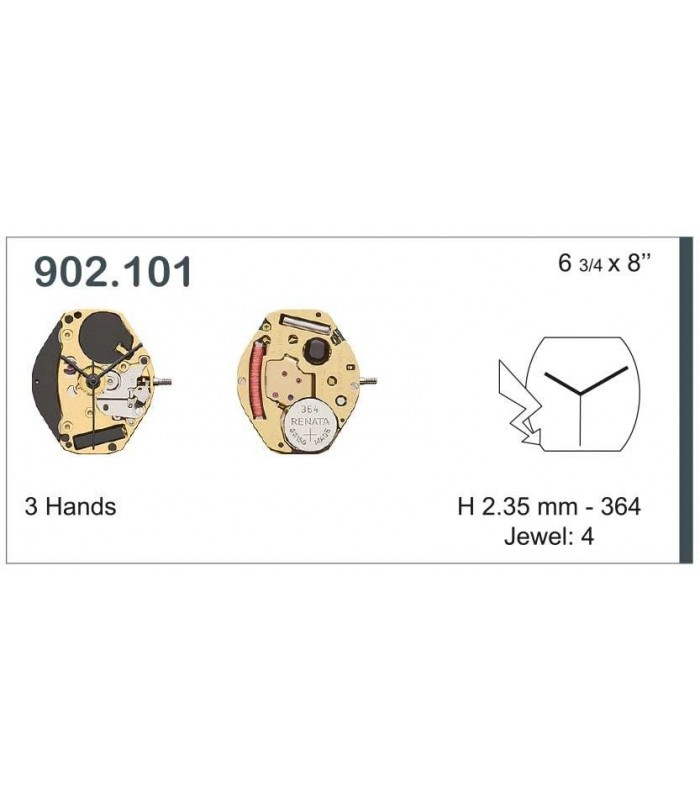 Máquinas ou movimentos para relógio, ETA 902.101