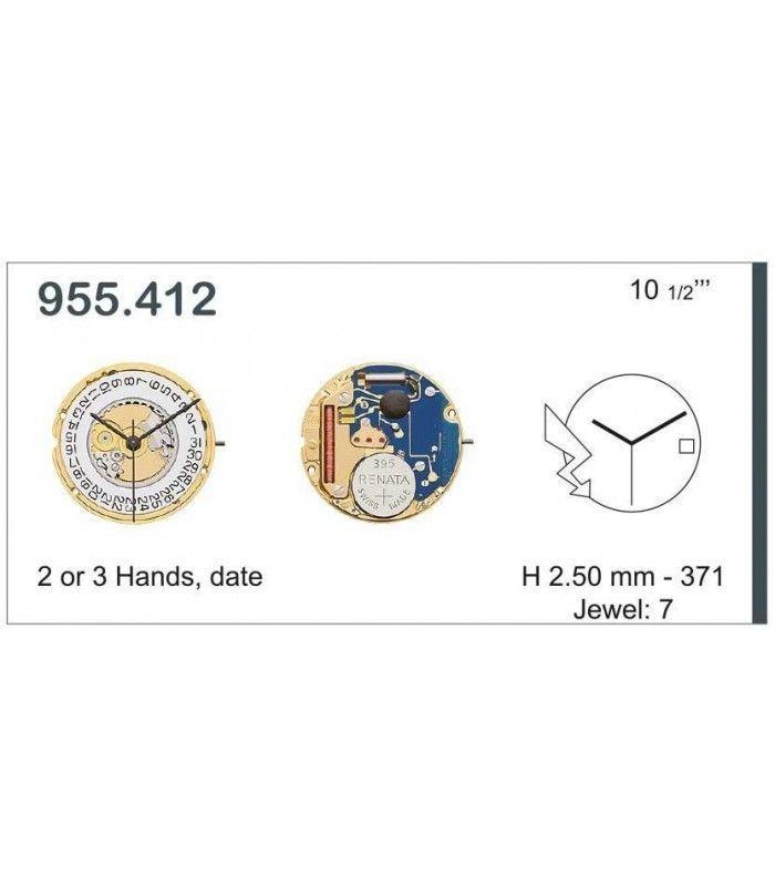 Movement for watches, ETA 955.412
