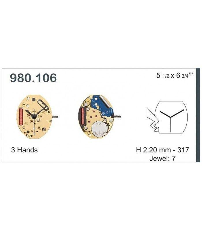 Máquinas ou movimentos para relógio, ETA 980.106