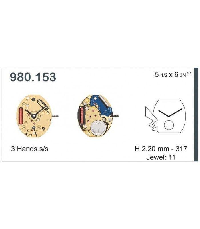 Máquinas ou movimentos para relógio, ETA 980.153