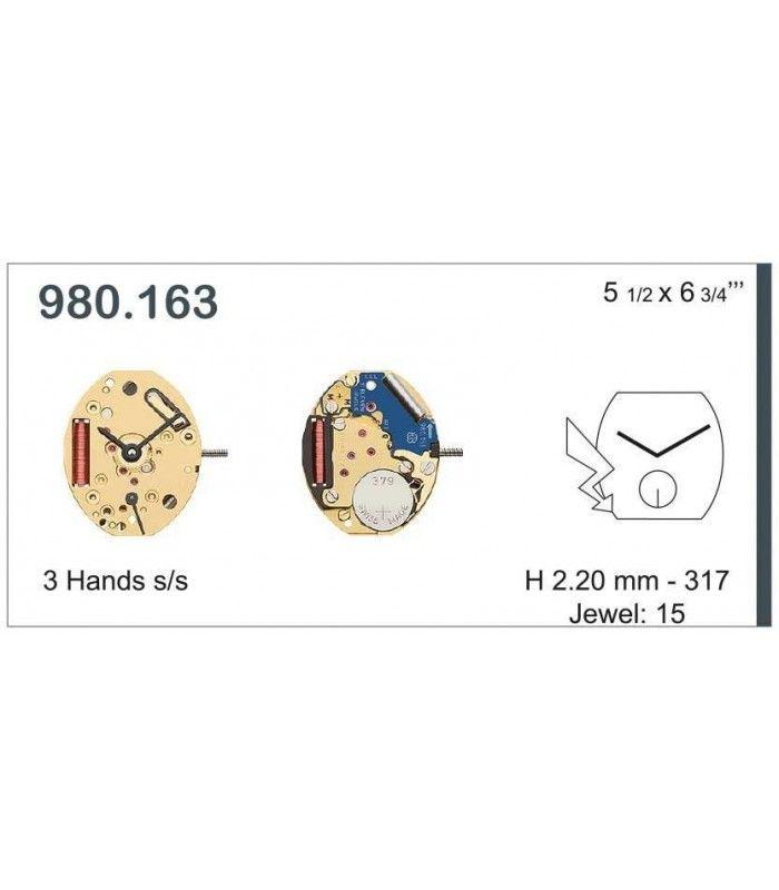 Máquinas ou movimentos para relógio, ETA 980.163