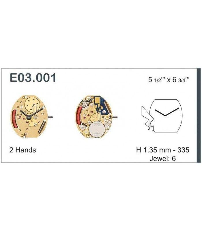 Máquinas ou movimentos para relógio, ETA E03.001