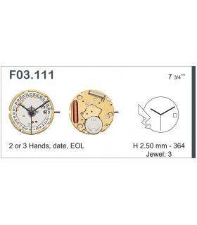 Máquina o movimiento para reloj ETA F03.111