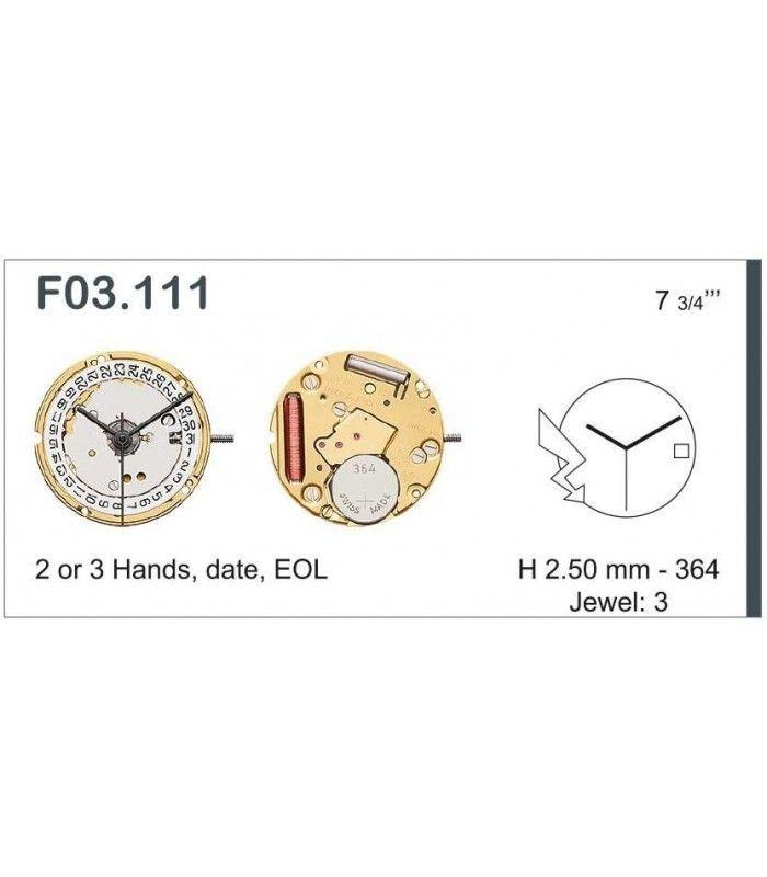 Máquinas ou movimentos para relógio, ETA F03.111