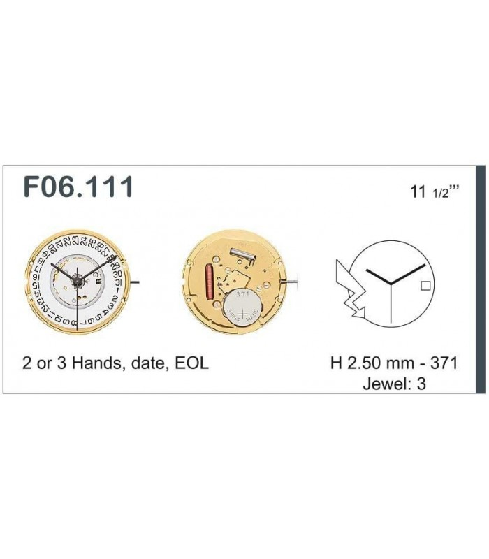 Máquinas ou movimentos para relógio, ETA F06.111