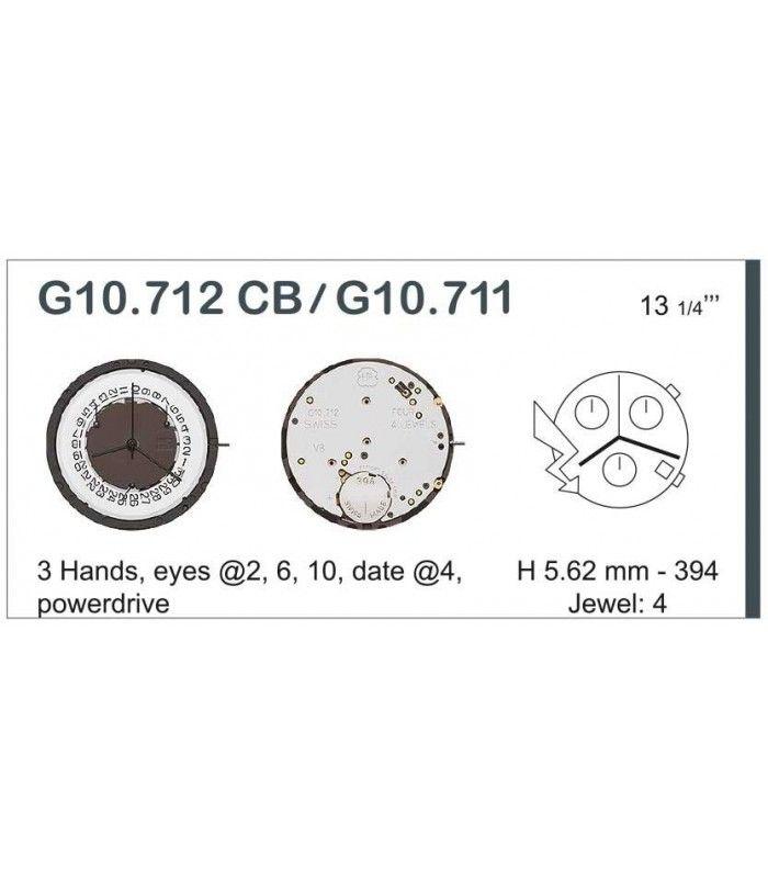 Máquinas ou movimentos para relógio, ETA G10.711