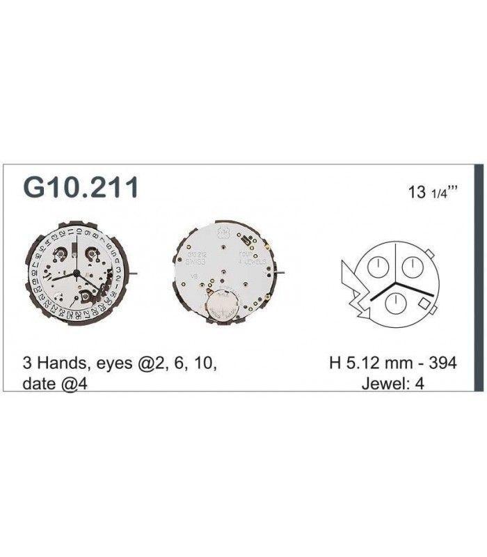 Máquinas ou movimentos para relógio, ETA G10.211