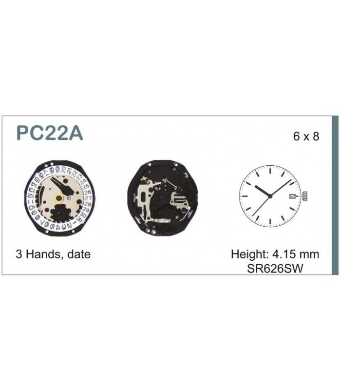 Máquinas ou movimentos para relógio, HATTORI PC22