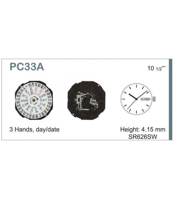 Máquinas ou movimentos para relógio, HATTORI PC33