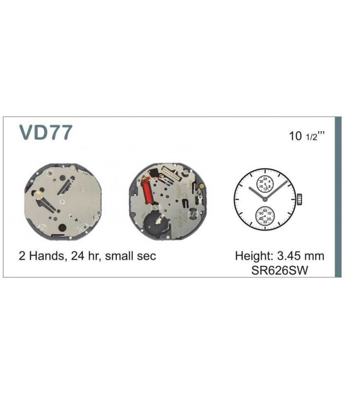Máquinas ou movimentos para relógio, HATTORI VD77