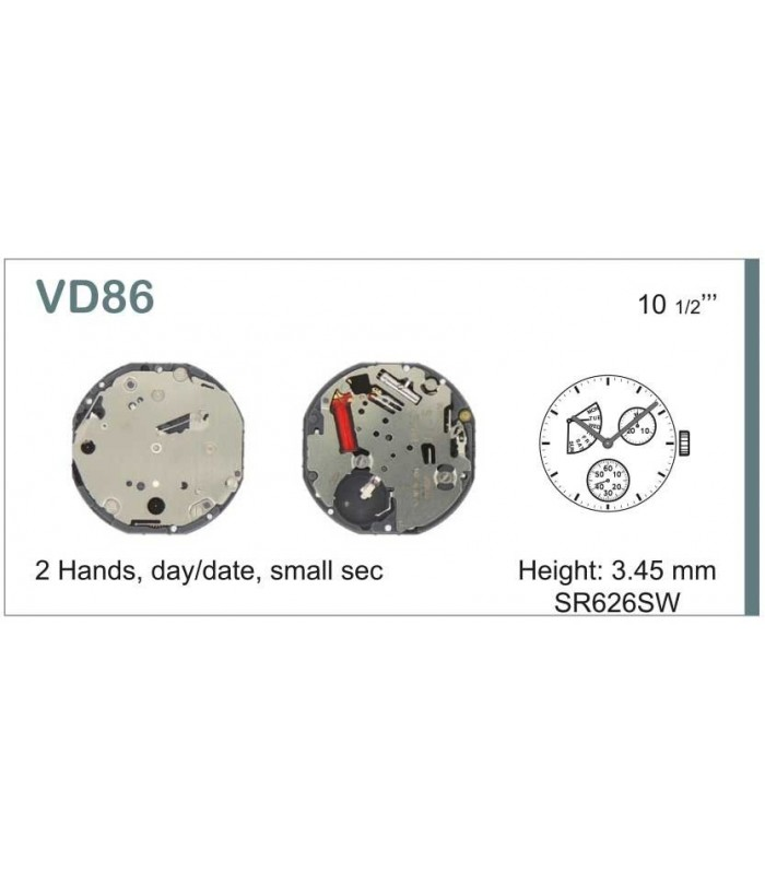 Máquinas ou movimentos para relógio, HATTORI VD86