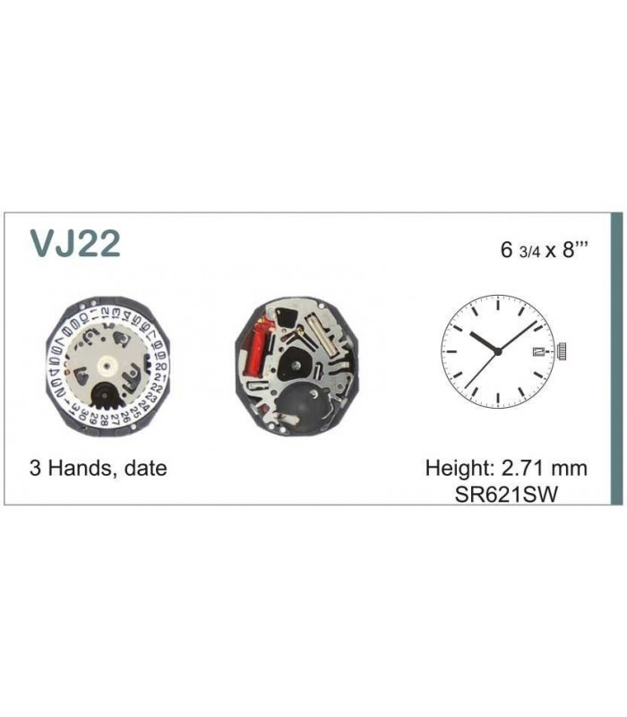 Máquinas ou movimentos para relógio, HATTORI VJ22