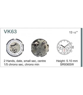 Máquinas ou movimentos para relógio, HATTORI VK63