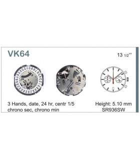 Máquinas ou movimentos para relógio, HATTORI VK64