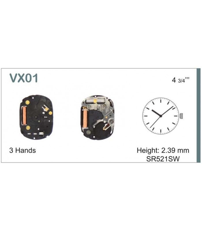 Máquinas ou movimentos para relógio, HATTORI VX01