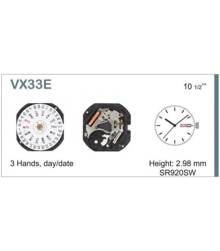 Máquina o movimiento para reloj HATTORI VX33