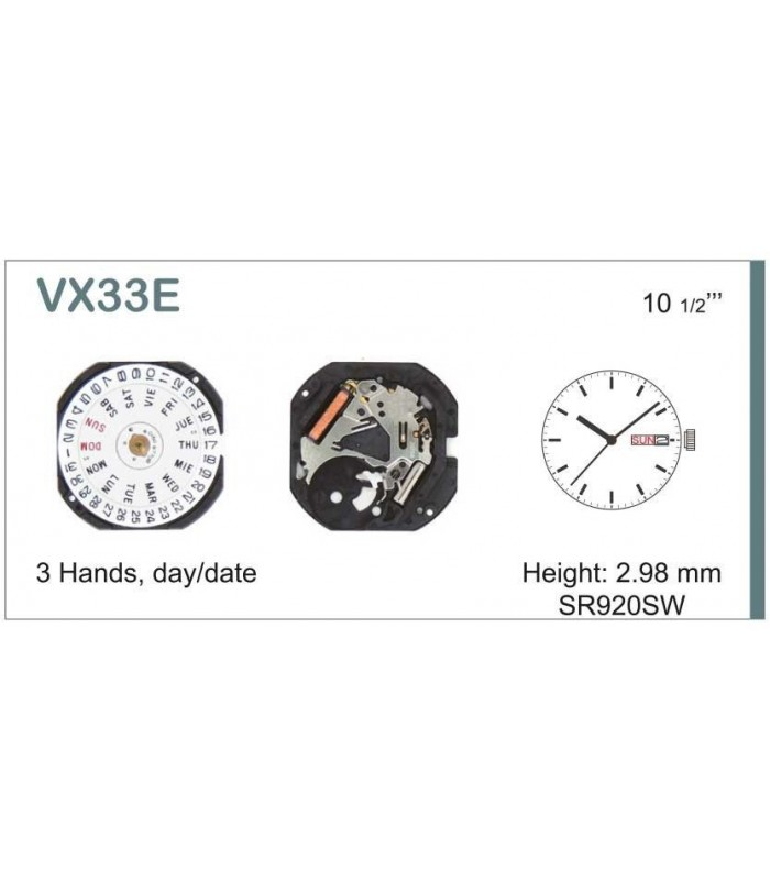 Movement for watches, HATTORI VX33