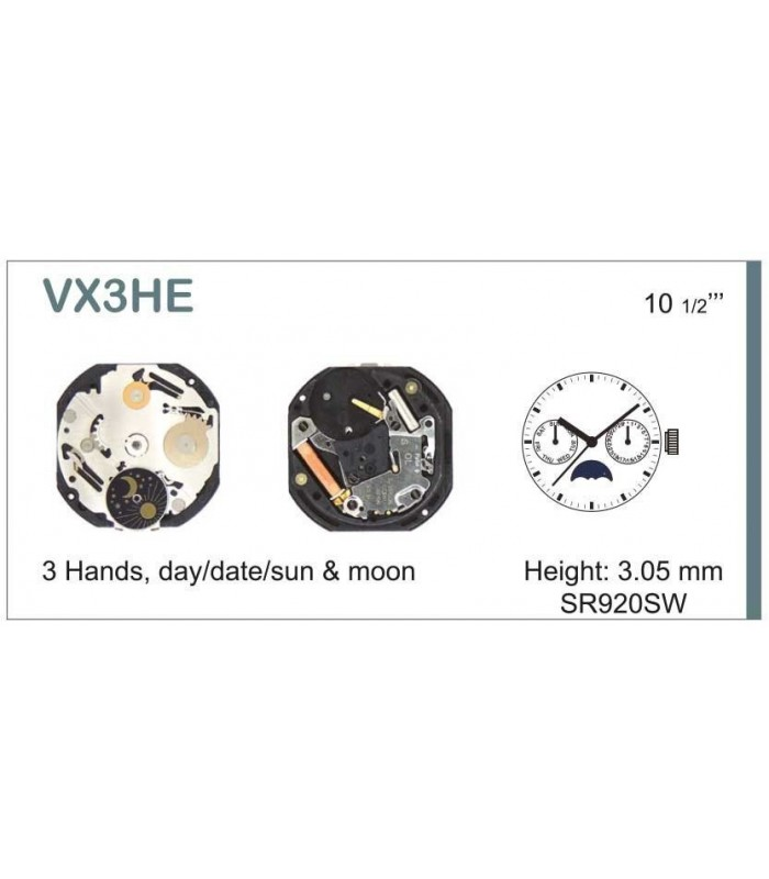 Movement for watches, HATTORI VX3H