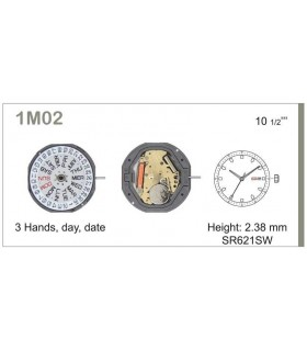 Movement for watches, MIYOTA 1M02