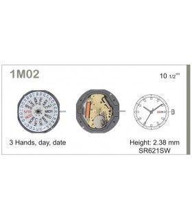 Máquinas ou movimentos para relógio, MIYOTA 1M02