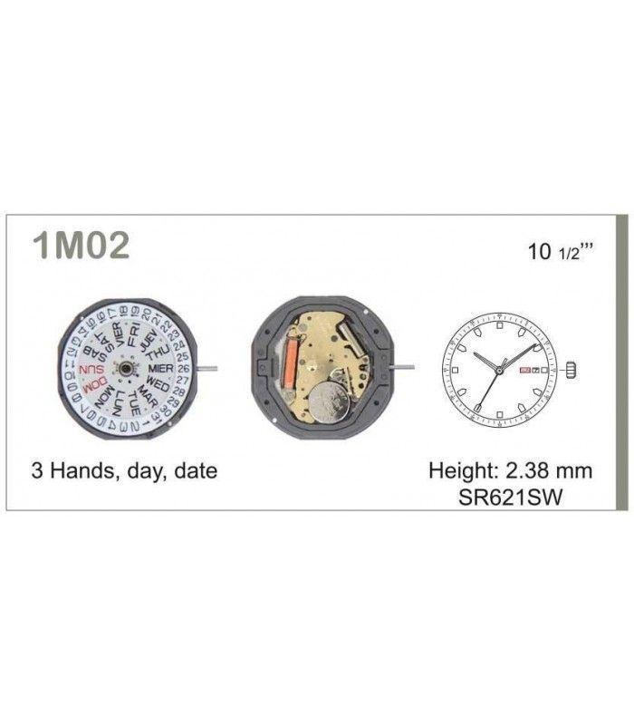 Movement for watches, MIYOTA 1M02