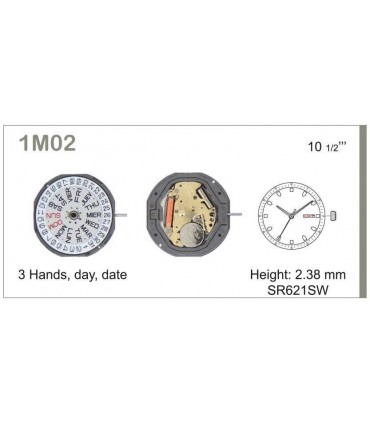 Maquinaria de reloj Ref MIYOTA 1M02
