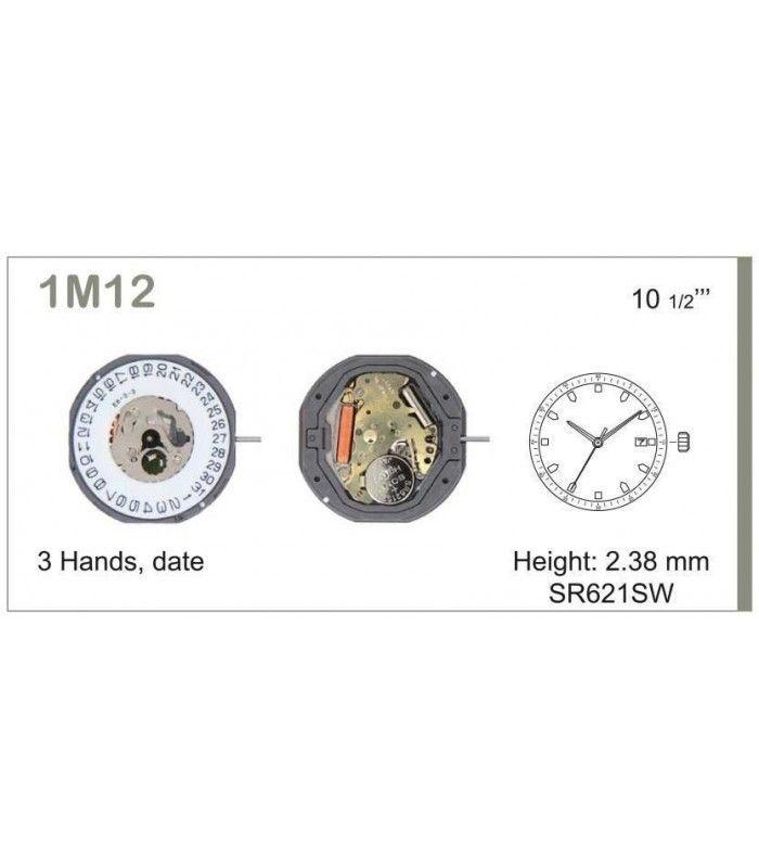 Máquinas ou movimentos para relógio, MIYOTA 1M12