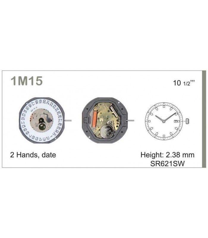 Máquinas ou movimentos para relógio, MIYOTA 1M15