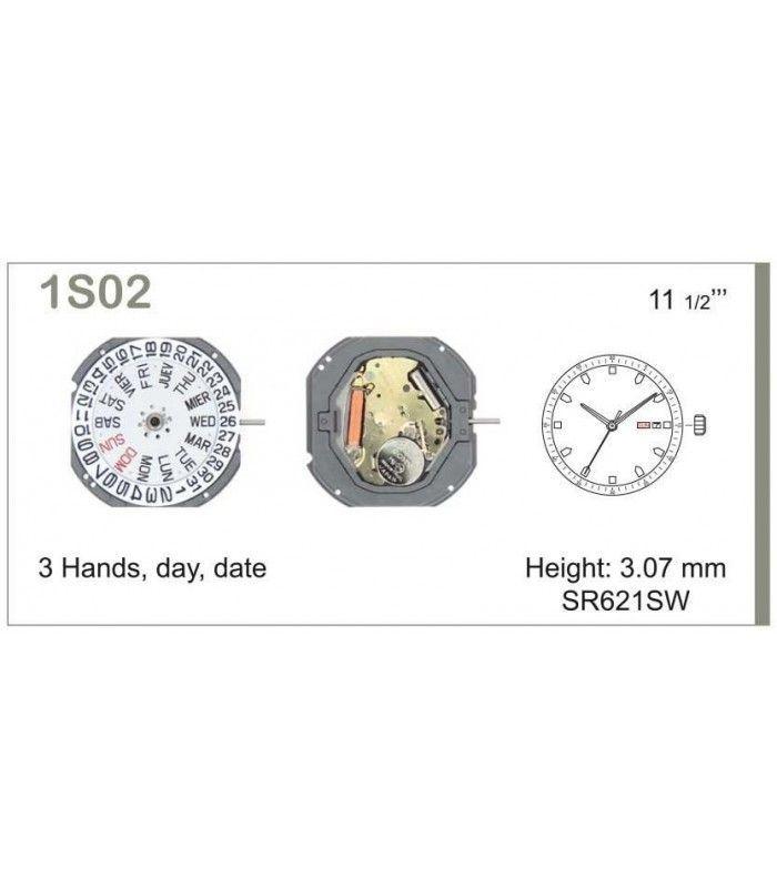 Máquinas ou movimentos para relógio, MIYOTA 1S02