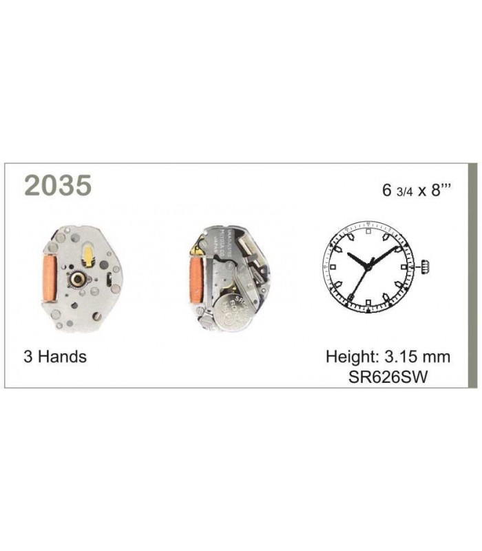 Movement for watches, MIYOTA 2035