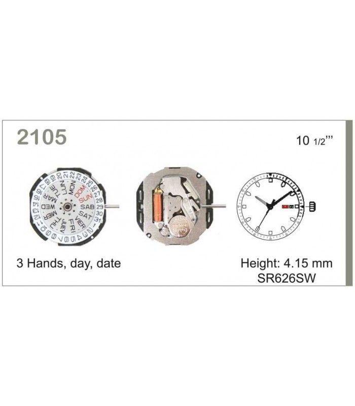 Máquinas ou movimentos para relógio, MIYOTA 2105